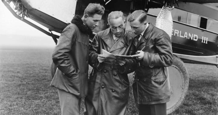Walter Mittelholzer (Mitte), Alfred Künzle und Werner Wegmann