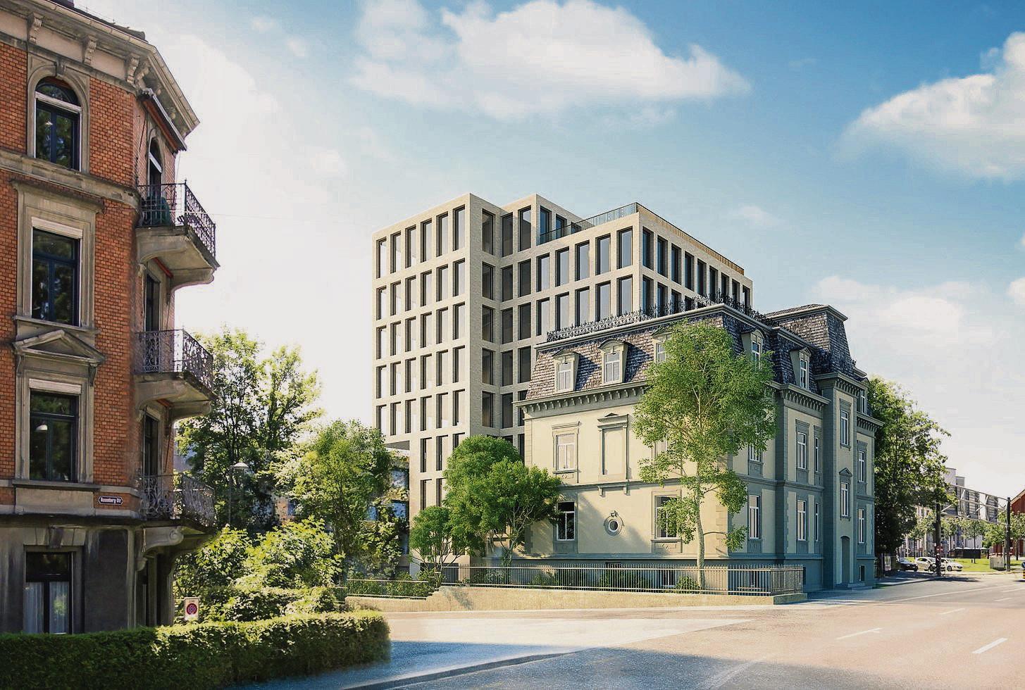 Das geplante 25-Meter-Haus hinter der sanierten Villa Wiesental. (Bild: pd)