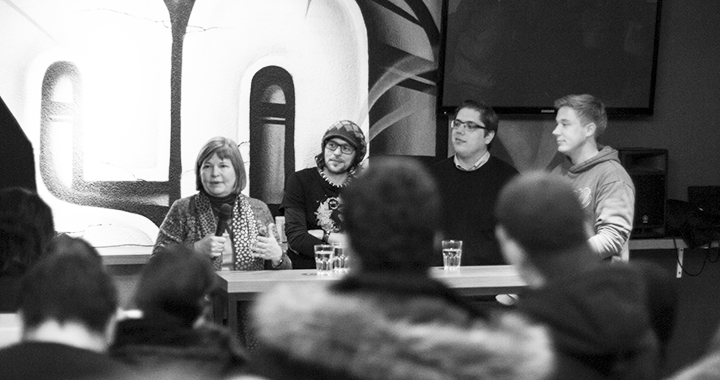 Von links: Yvette Sanchez, Jaan Schaller, Ruben Schönenberger und Bruno Zanvit (Bilder: Fabian Rietmann)