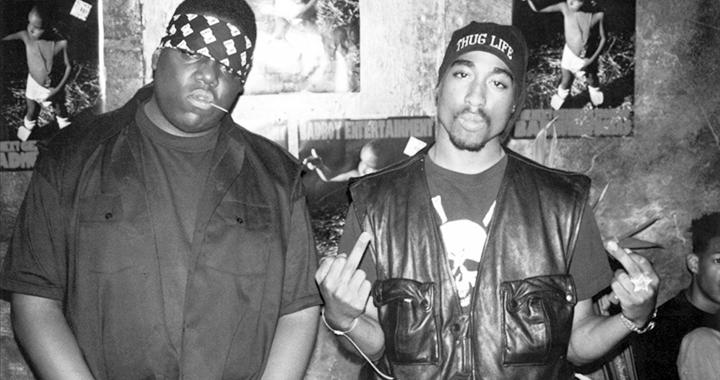Good old days: Big Poppa und Tupac waren 1994 noch zusammen im Studio. Drei Jahre später waren beide tot. (Bild: hip-hop-music.wikia.com)