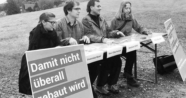 Grüne für den Grünen Ring: Franziska Ryser, Basil Oberholzer, Andreas Hobi, Anja Bürkler (von links).
