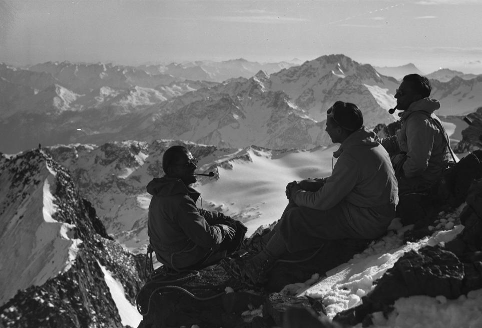 Auf dem Gipfel des Piz Bernina, 1948